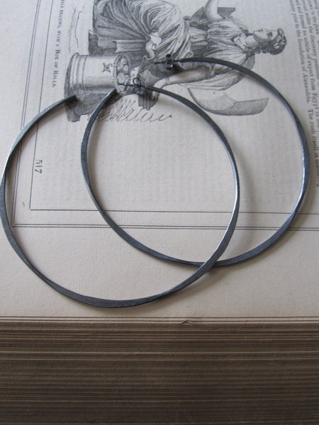 Irregular Oxidised large hoops