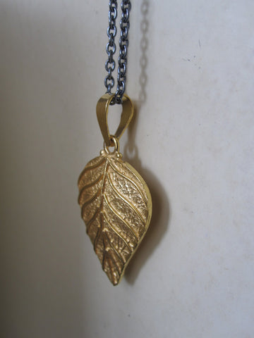 Gold plated Silver Leaf Necklace