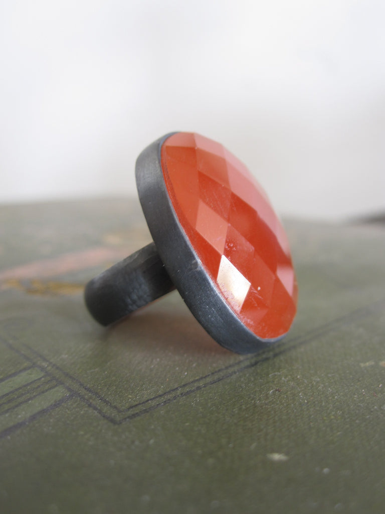 925 Silver - oxidised oval Carnelian ring