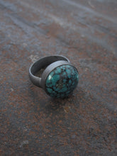 925 Silver - oxidised turquoise ring