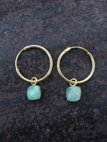 925 Silver Small Chrysophrase Hoop Earrings - Gold