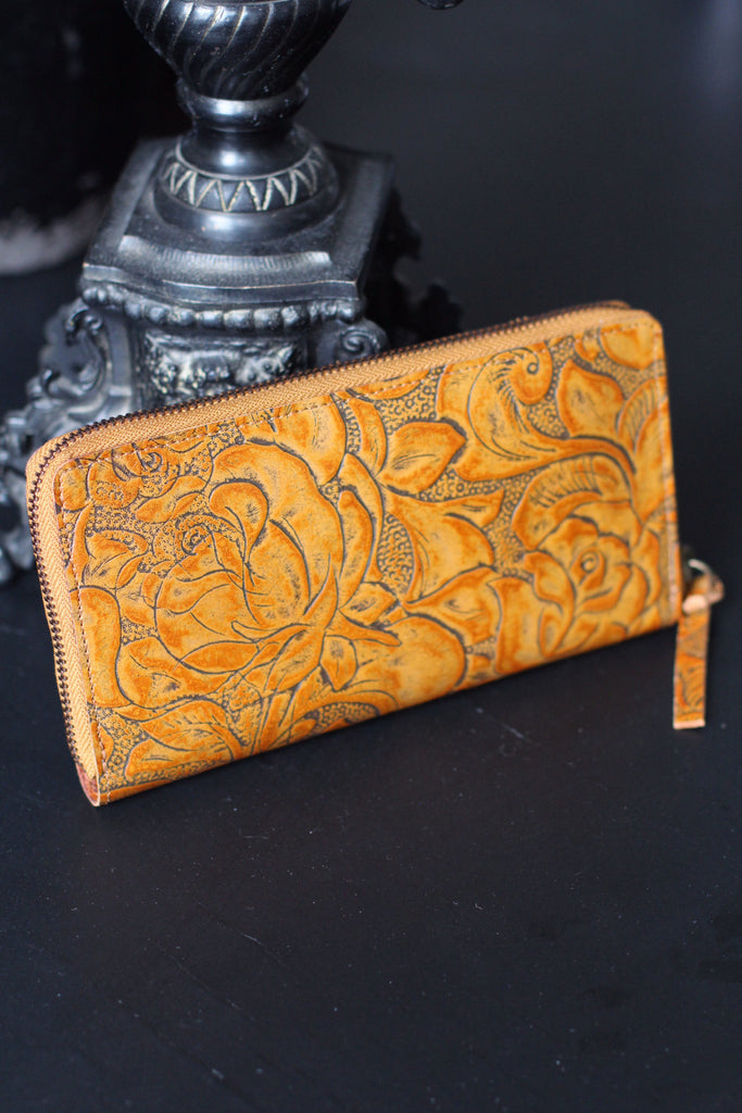 CollardManson Floral Wallet- Tan