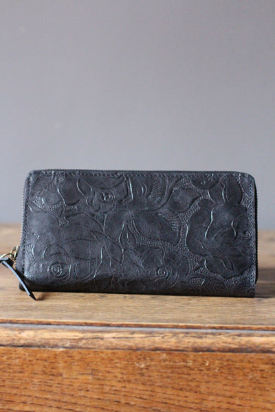 CollardManson Floral Wallet- Black