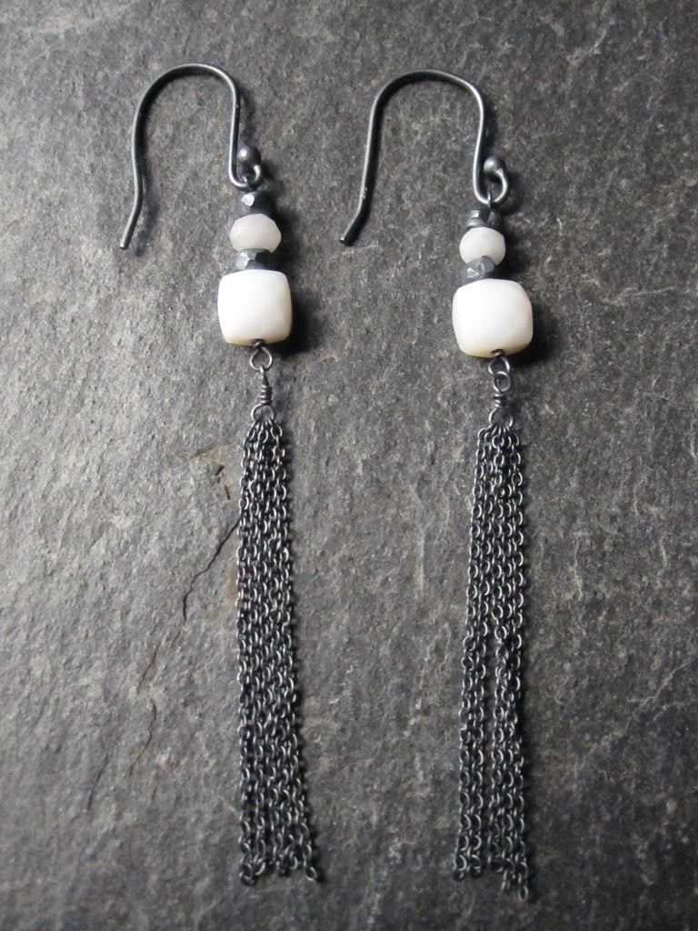 Silver Oxidised Chain and white agate earrings