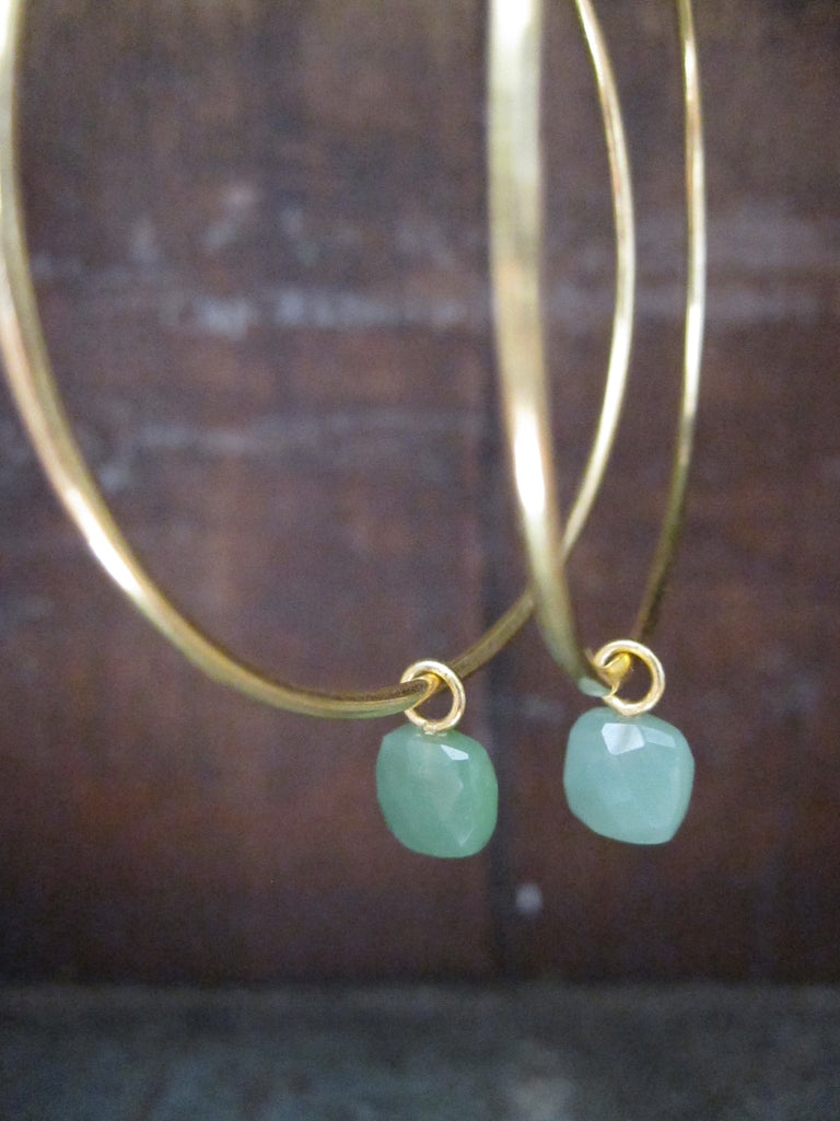 Chrysophrase hoop earrings