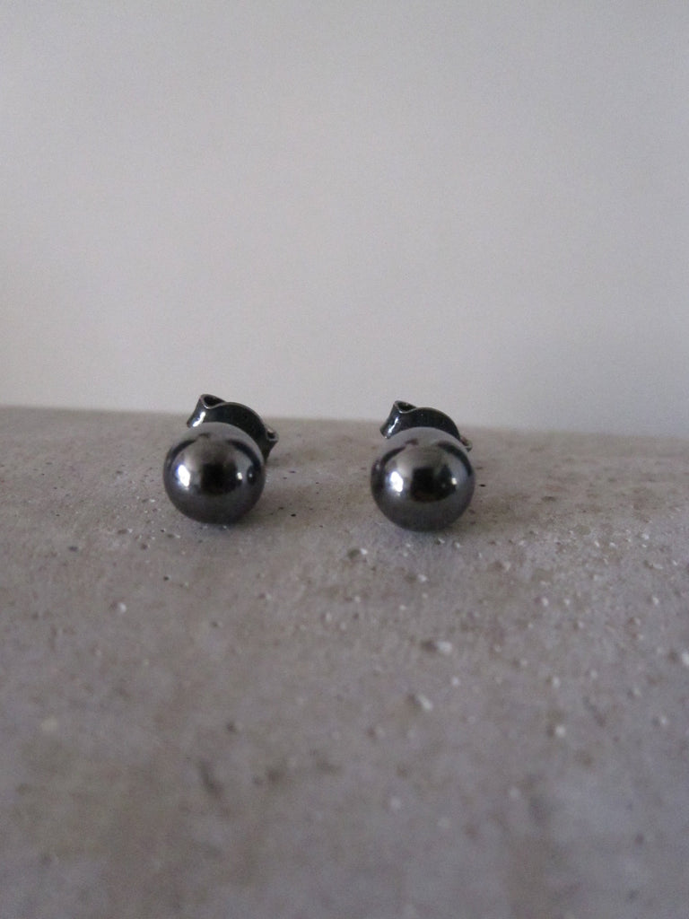 Ball studs 925 silver - black