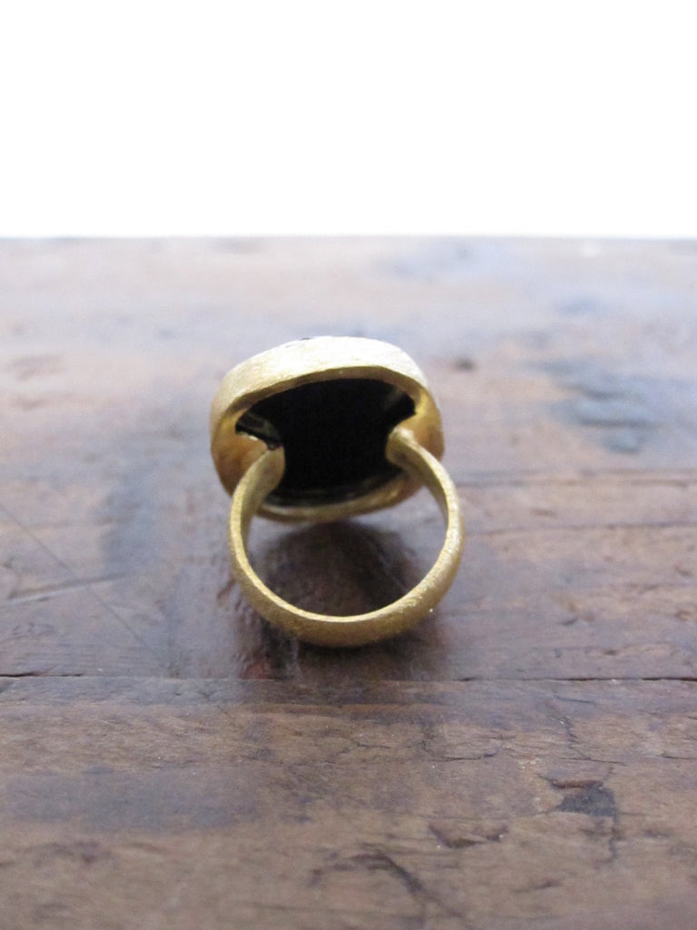 Gold plated silver - oval Onyx ring