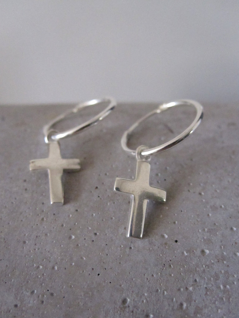 Small Cross Hoop Earrings