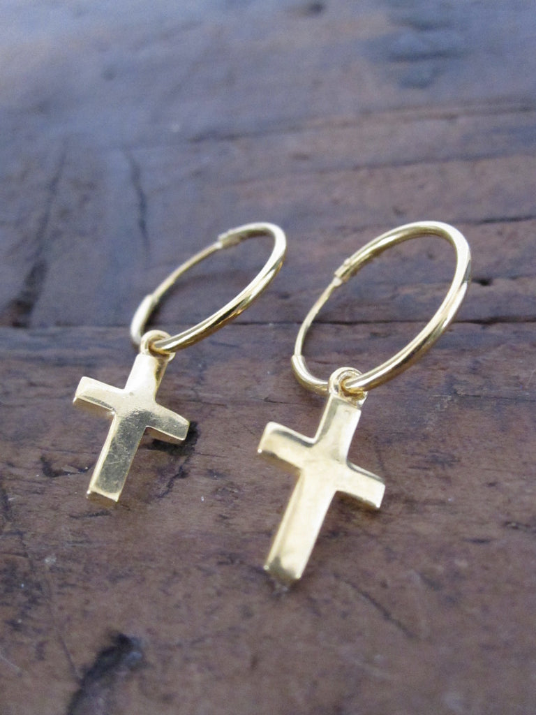 Small Cross Hoop Earrings - gold