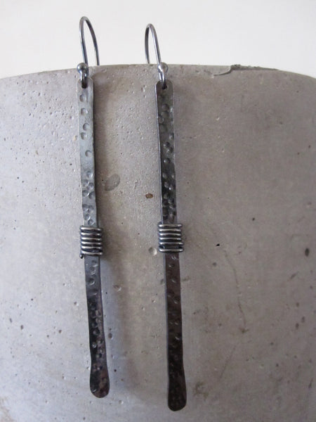 Long oxidised earrings