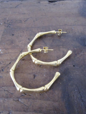 Bamboo Hoops - gold plated