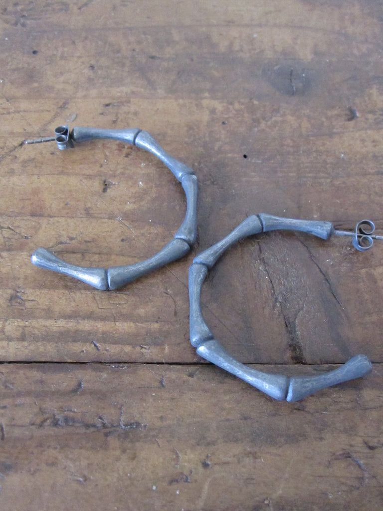 Bamboo Hoops - black oxidised