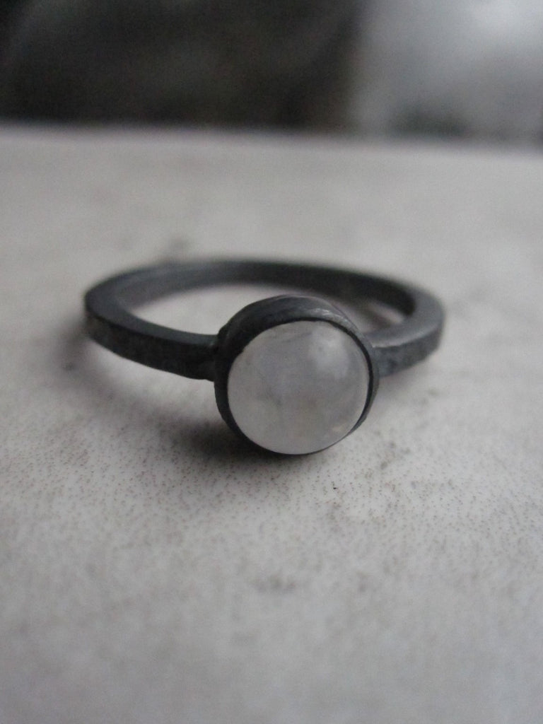 Black silver ring with Rainbow Moonstone