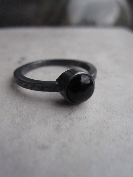 Black silver ring with Black Onyx