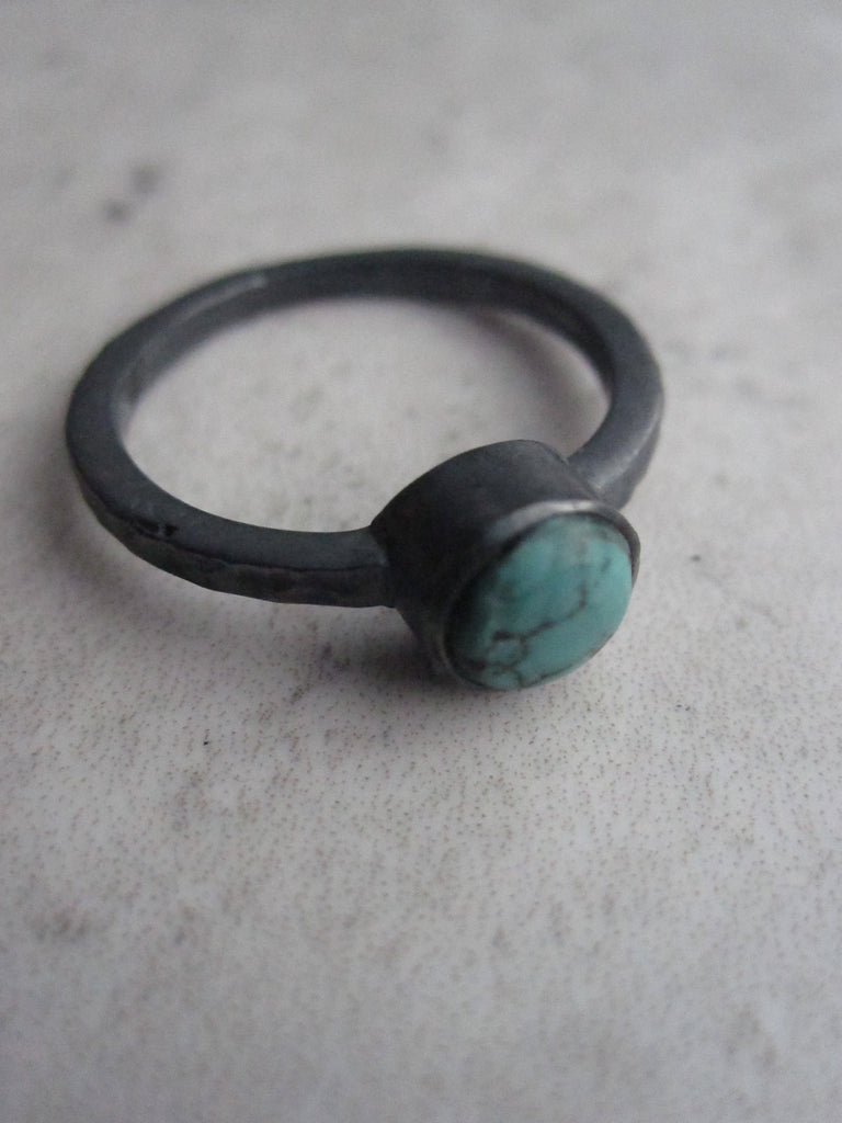 Black silver ring with Turquoise