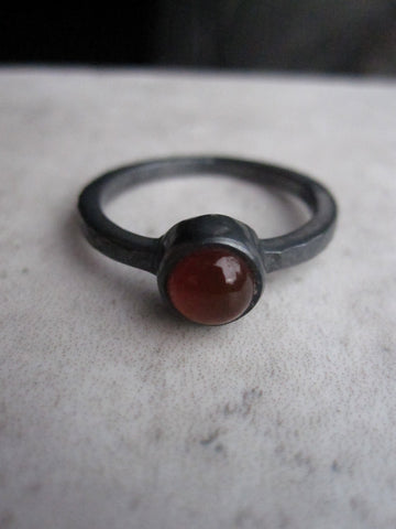 Black silver ring with Carnelian