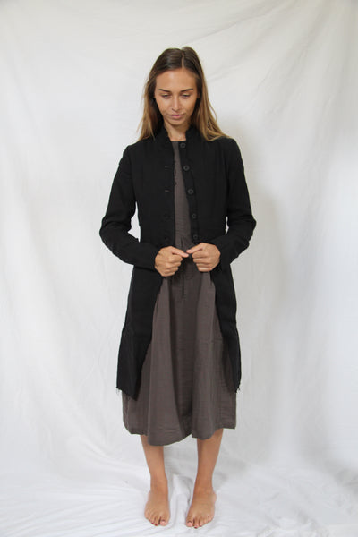 WDTS - Frayed Hem Coat - Black
