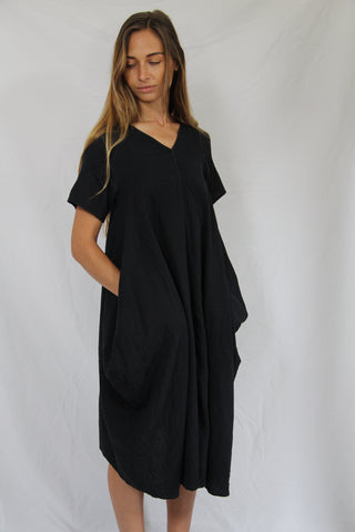 WDTS AW19 - Tie Back dress - Black Overdye