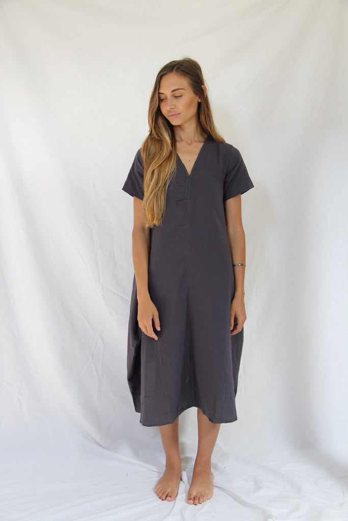 WDTS AW19 - Tie Back dress - Blue Grey