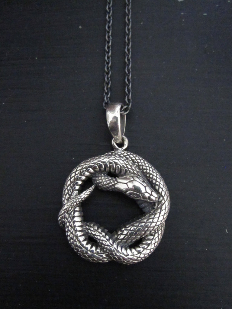 Oxidised 925 Silver Snake necklace