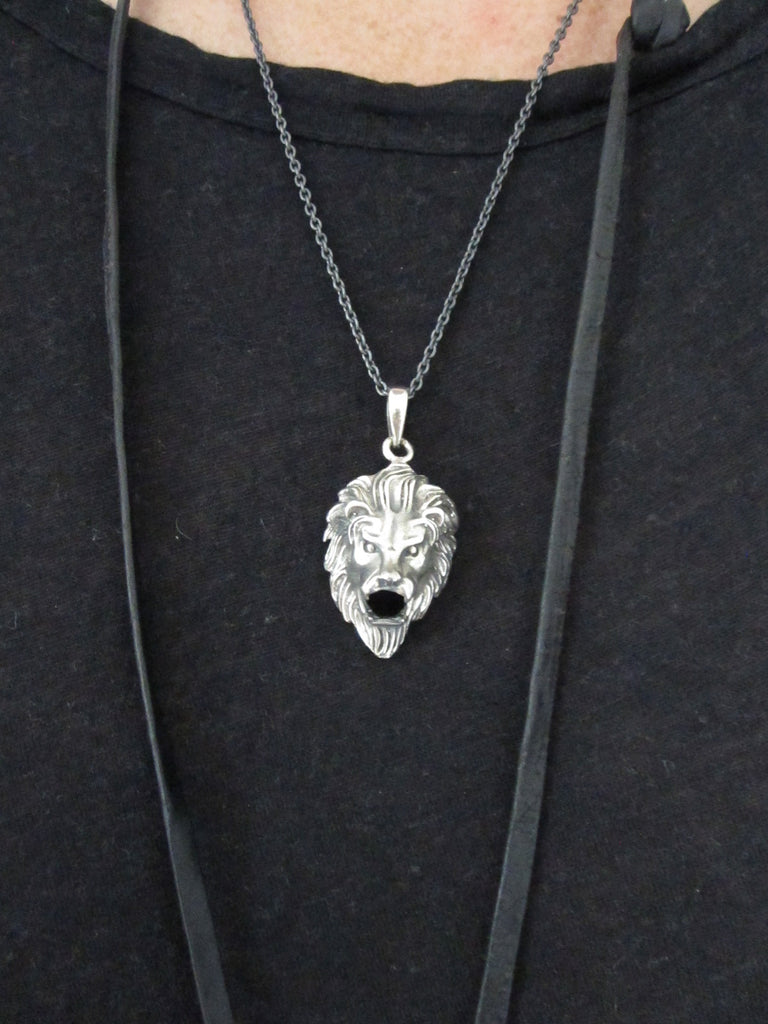 Oxidised 925 Silver lion necklace