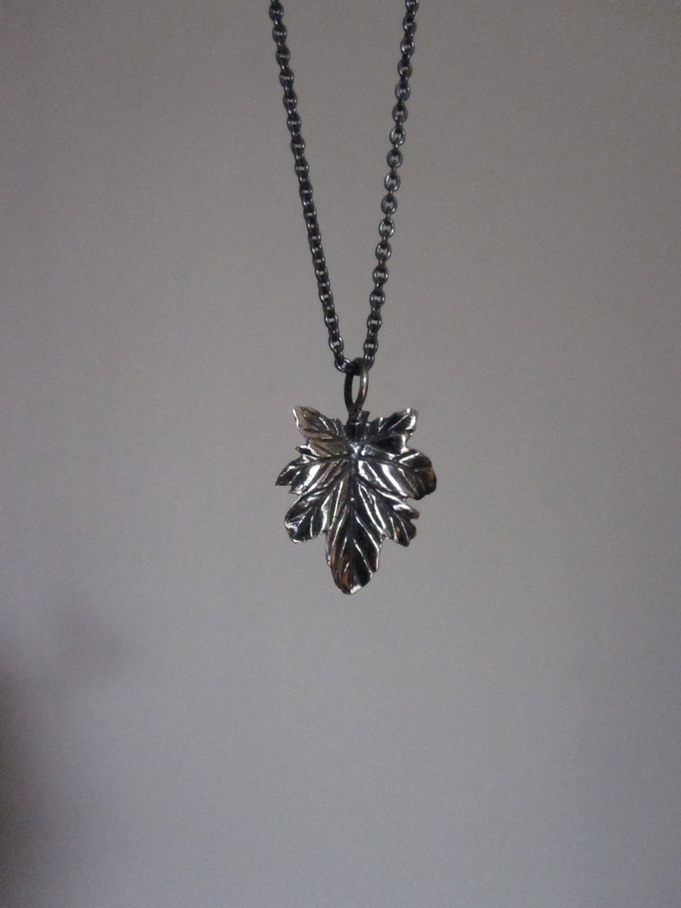 Oxidised 925 Silver leaf necklace