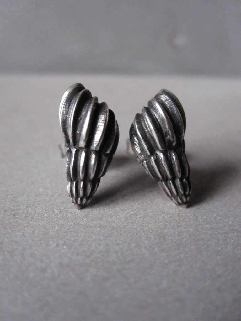 Seashell Studs oxidised silver