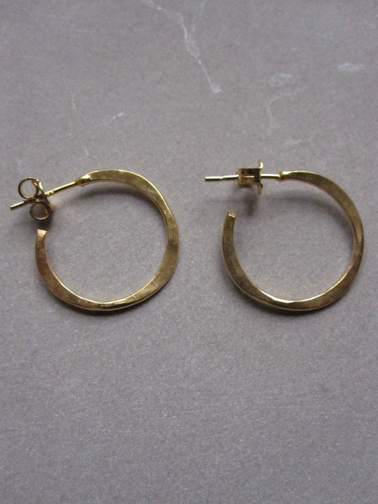 Irregular hammered gold plated small hoops