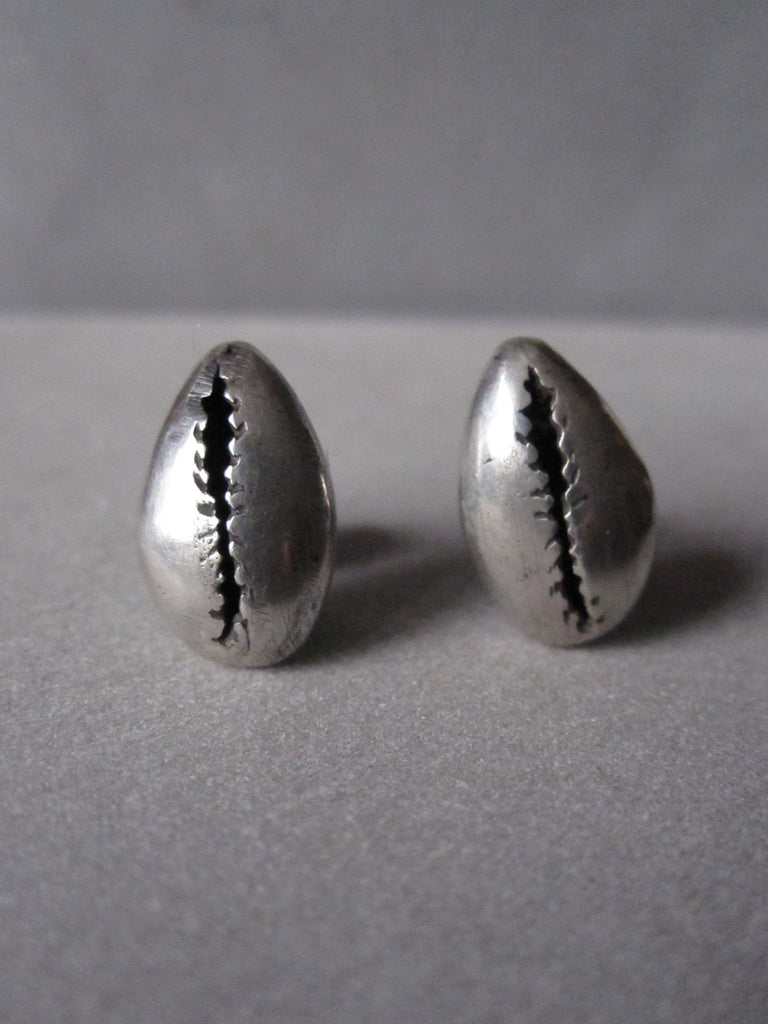 Cowrie shell Studs oxidised silver