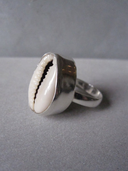 Cowrie shell ring - deep set