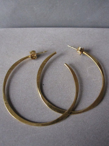 Irregular gold plated Medium hoops