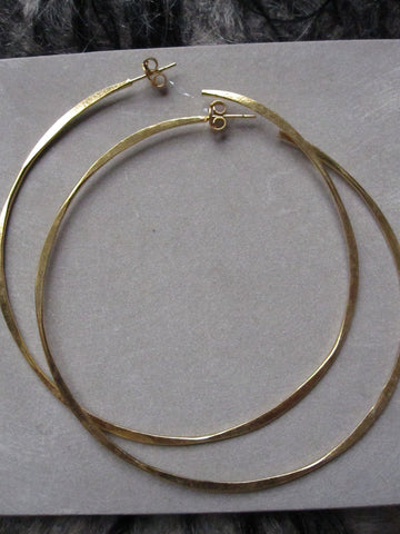 Irregular hammered large hoops