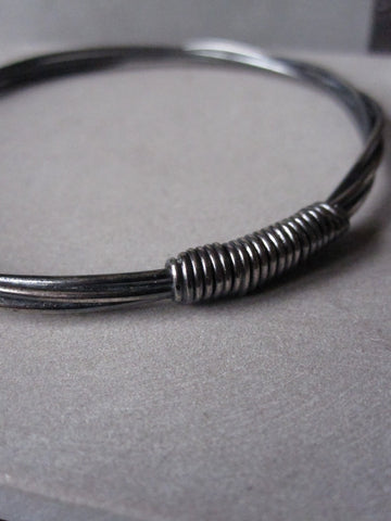 Entwined Oxidised Silver bangle