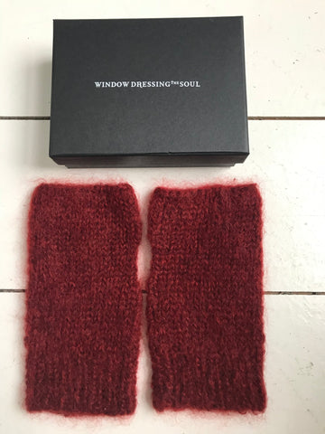 WDTS - Arm warmers in Berry Red Mohair Wool