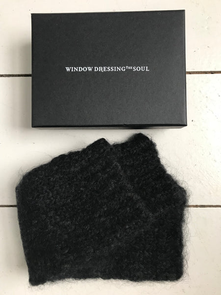 WDTS - Long Arm warmers in Black Mohair Wool
