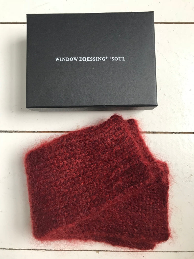 WDTS - Long Arm warmers in Berry Red Mohair Wool