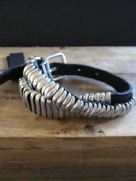 Goti 925 Silver and leather bracelet BR109
