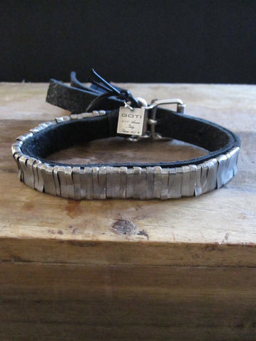 Goti 925 Silver and leather bracelet BR605