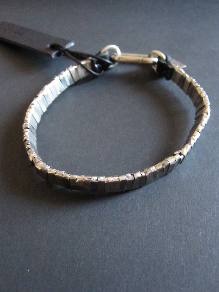 Goti 925 Silver and leather bracelet BR126