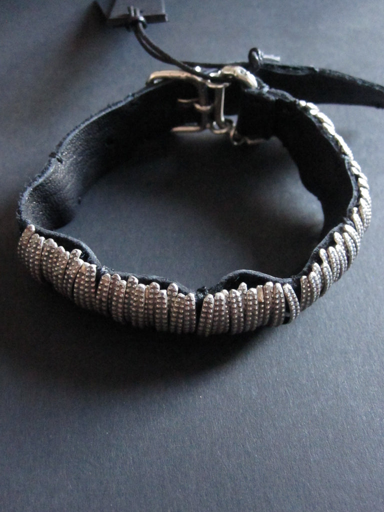 Goti 925 Silver and leather bracelet BR124