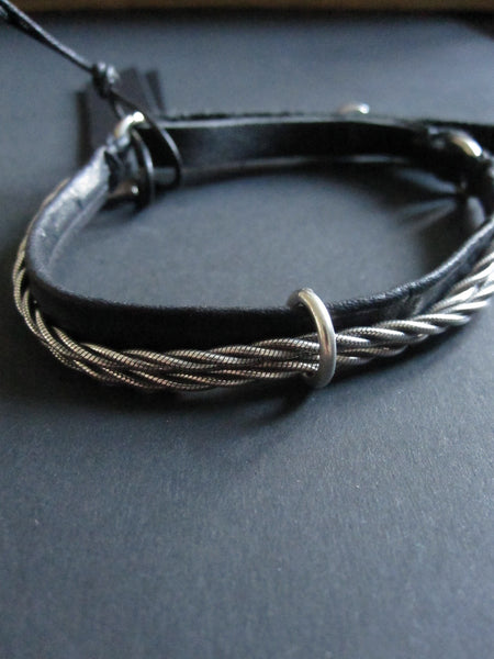 Goti leather bracelet with silver BR192