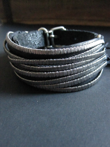Goti 925 Silver and leather bracelet BR130