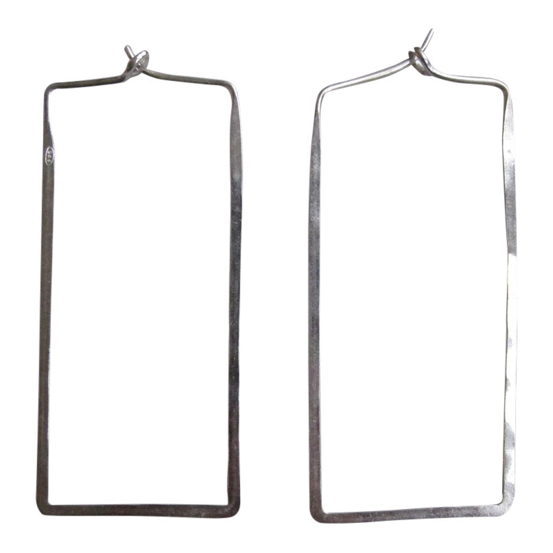 925 Silver Thin earrings - rectangle