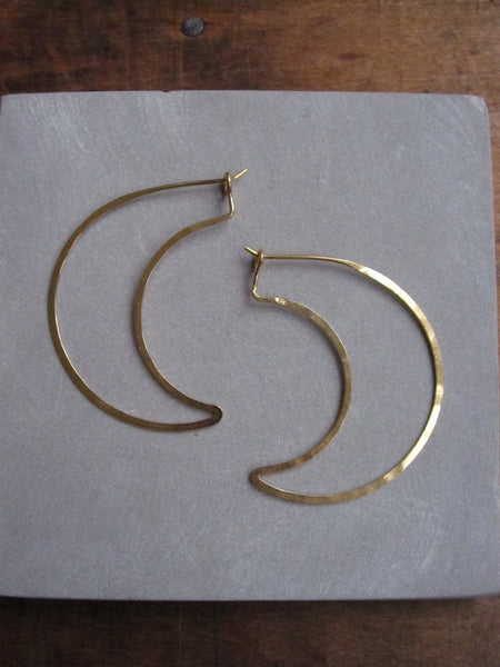 Gold plated 925 Silver Thin earrings - crescent moon