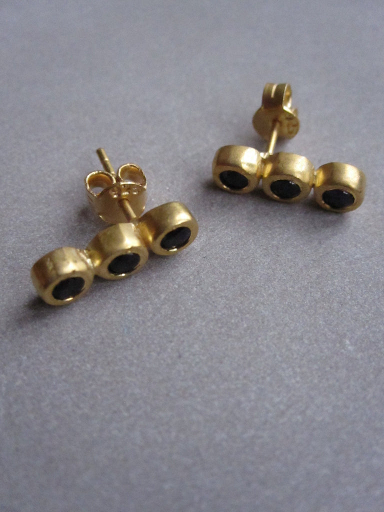Triple Onyx Earrings - Gold