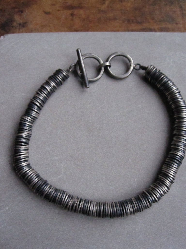 WDTS Oxidised 925 silver disc T-bar bracelet