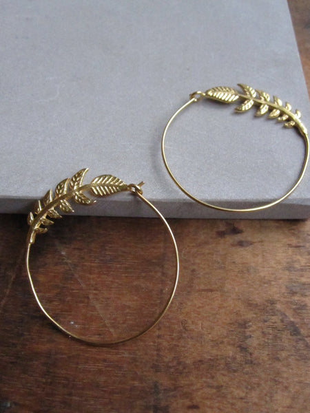 Leafy branch hoop - gold plated