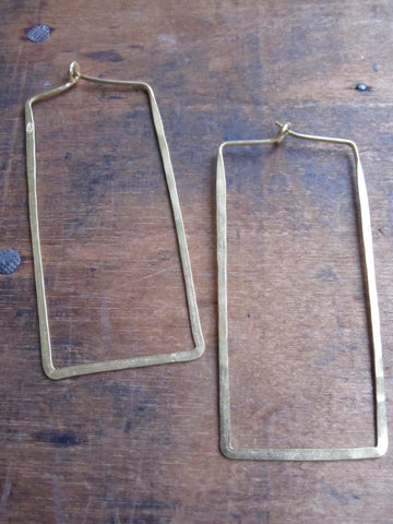 Gold plated (925 Silver) Thin earrings - rectangle