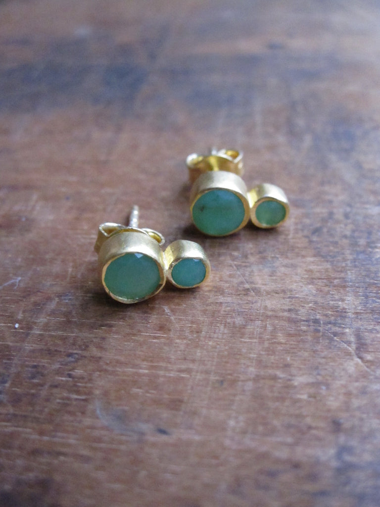 Gold plated Double Chrysophrase Earrings