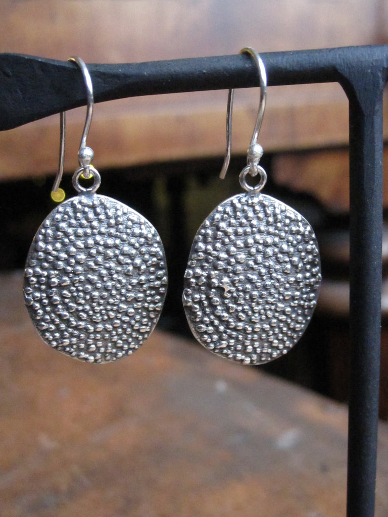 Textured oval 925 Silver earrings